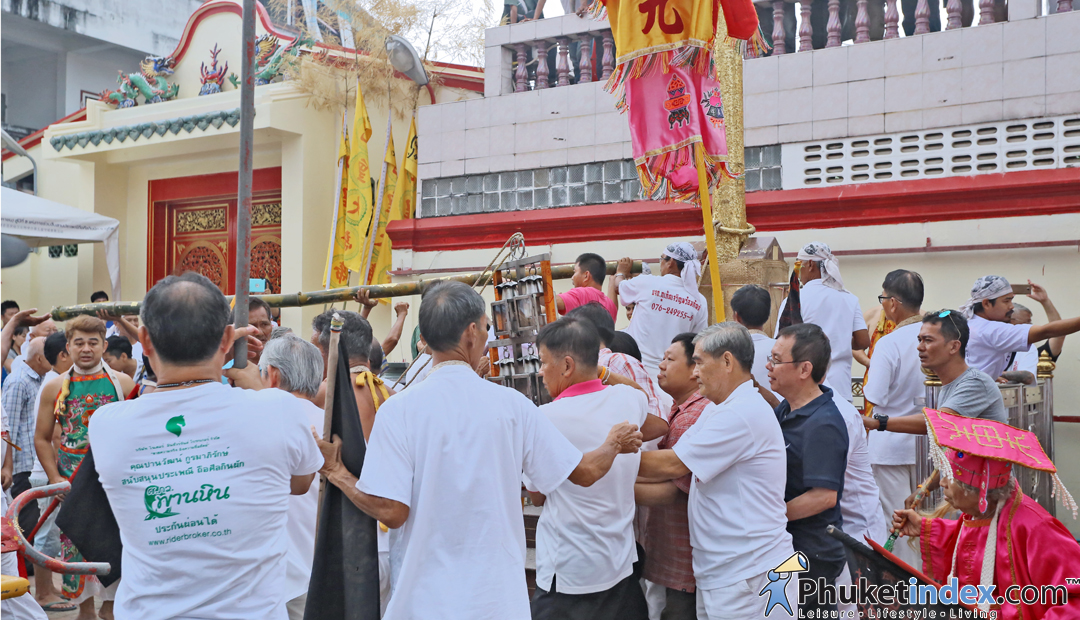 Lowering of the Go Teng Pole at Jui Tui Shrine, Phuket town