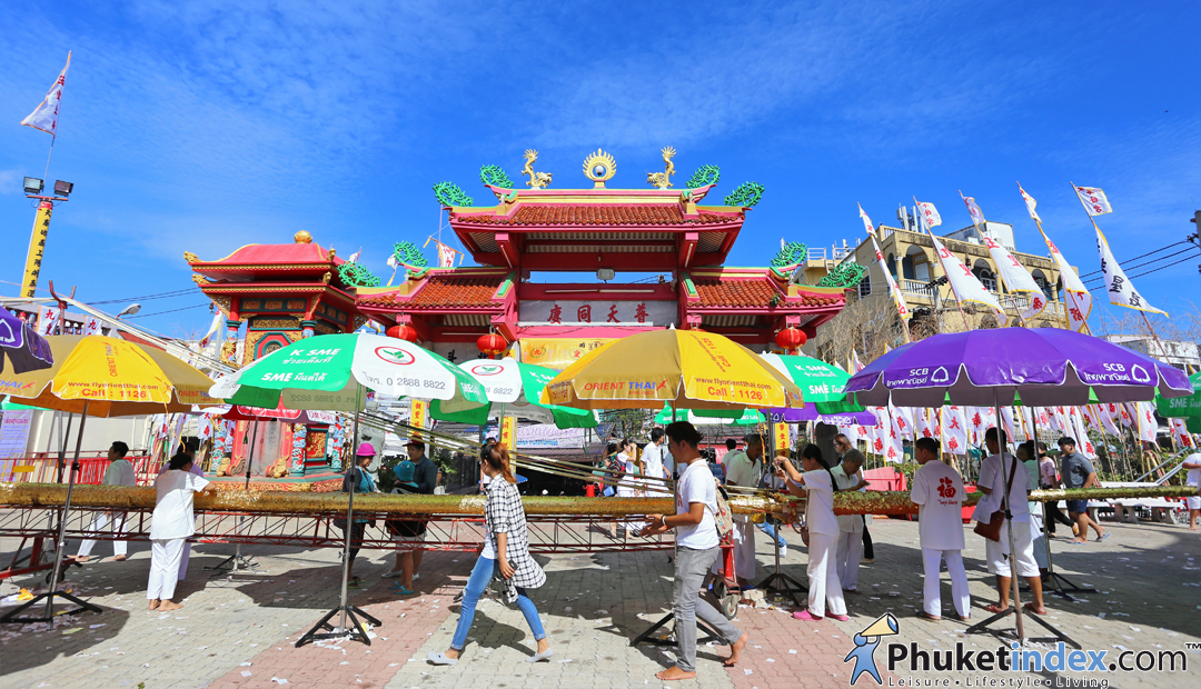 Raising the Go Teng Pole at Jui Tui Shrine, Phuket town